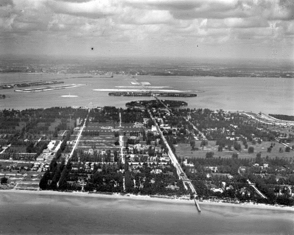 1924 ~ Aerial View of Venetian Causeway From Beach