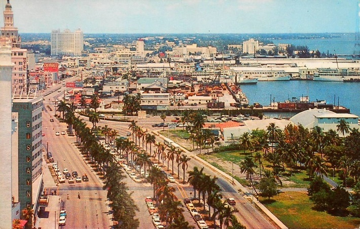 Birdseye View of Biscayne Boulevard in Miami Florida Looking North