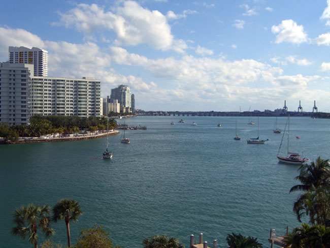 Miami Beach real estate - view of Biscayne Bay in Miami