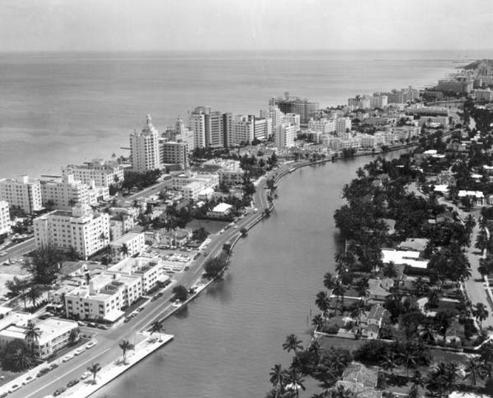 Miami Beach arial View from 1955