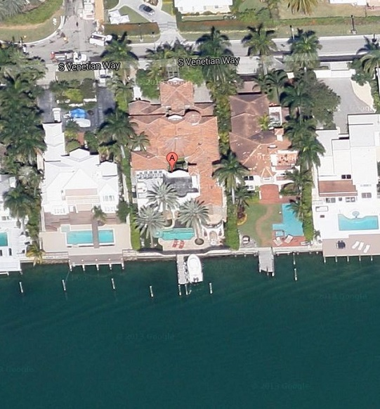 Venetians Islands home at 1350 S Venetian Way arial view